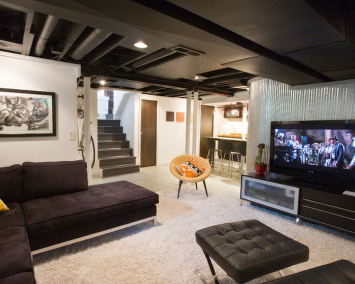 black-and-white-modern-basement-ideas